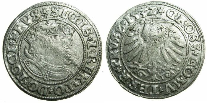World Coins - POLAND.Sigismund I The Old AD 1506-1548.AR.Grosch 1532.Prussian mint.~~~attractive renaissance portrait.