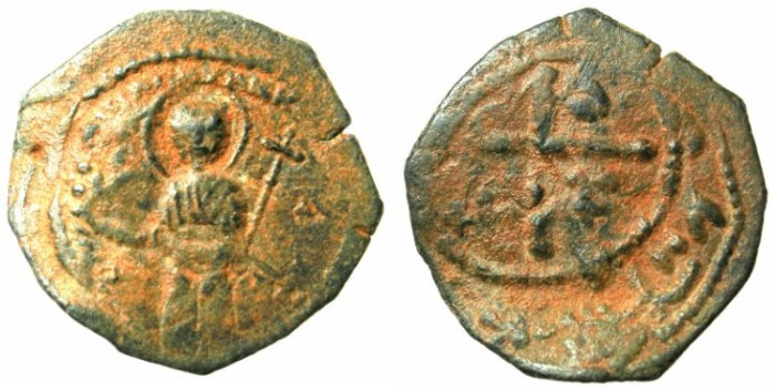 Ancient Coins - CRUSADER. Antioch.Tancred AD 1104-1112.AE.Follis.3rd type.Standing Saint Peter.