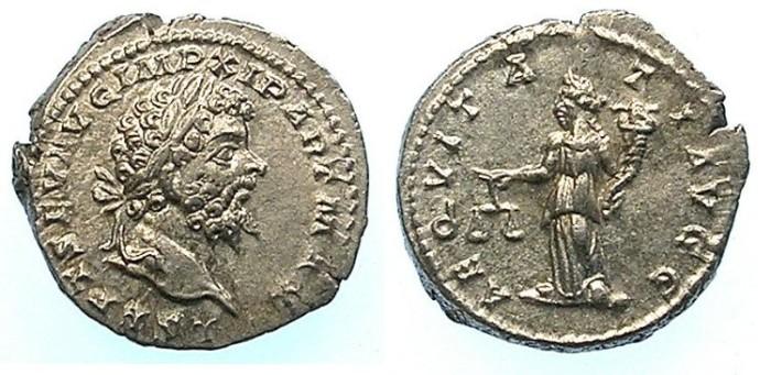 Ancient Coins - Septimius Severus AD 193-211.AR.Denarius.Rev.Aequitas standing