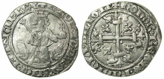 Ancient Coins - ITALY.NAPLES.Charles II of Anjou 1285-1309.AR.Gigliato.