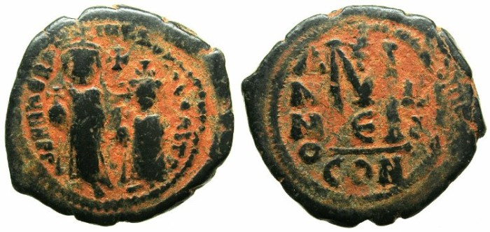 Ancient Coins - BYZANTINE EMPIRE.Heraclius AD 610-641.AE.Follis.Year 3.Mint of CONSTANTINOPLE.