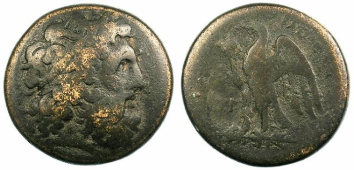 Ancient Coins - PTOLEMAIC EMPIRE.EGYPT.Ptolemy I Soter c.304-283.AE.26.Zeus Ammon.Eagle.