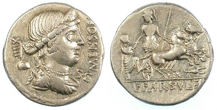 Ancient Coins - ROME.REPUBLIC.L.Faruleius Mensor 75 BC.AR.Denarius.Libertas Rev.Warrior in Biga.