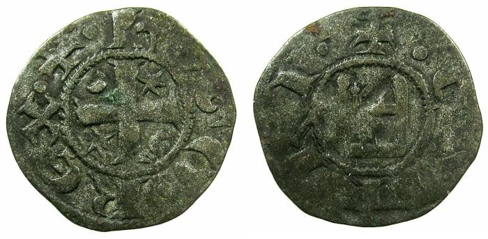 World Coins - CRUSADER STATES.CYPRUS.Hugh I AD 1205-1218.Billon Denier.Type 5A
