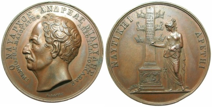 World Coins - GREECE.AD 1835 Death of Admiral Andreas Miaoulis AE.Medallion 42.5mm by Konrad Lange.