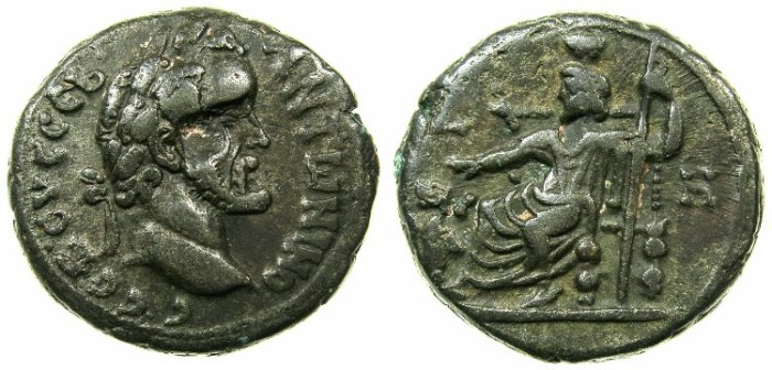 Ancient Coins - EGYPT.ALEXANDRIA.Antoninus Pius AD 138-161.Billon Tetradrachm, struck AD 144/45.~#~.Serapis with Kerberos