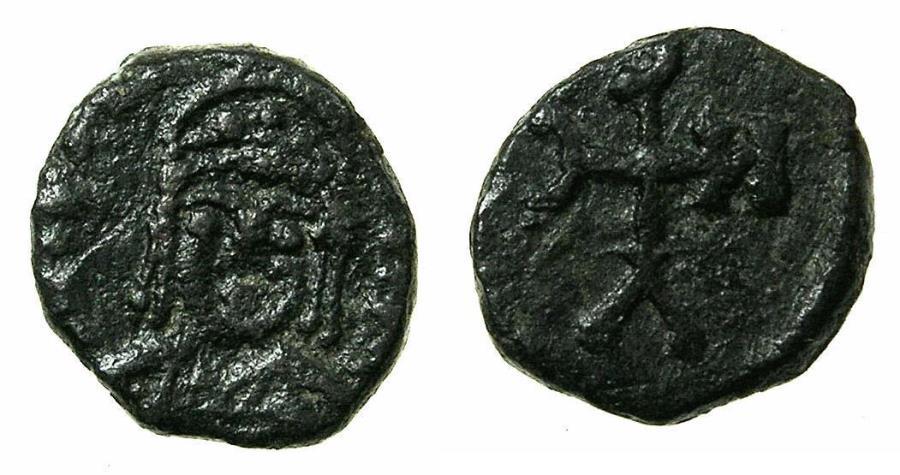 Ancient Coins - BYZANTINE EMPIRE.NORTH AFRICA. Justin II AD 565-578.AE.Decanummium.Mint of CARTHAGE. Reverse. Monogram. Very Rare type.