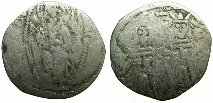 Ancient Coins - SERBIA.Stefan Uros IV Dusan as Emperor AD 1345-1355.AR.Dinar.~~~Christ in mandorla.~#~Two standing Imperial figures
