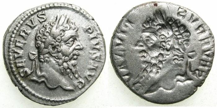 Ancient Coins - ROME.Septimius Serverus AD 193-211.AR.Denarius.~~~OBVERSE BROCKAGE~~~