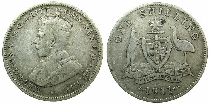 World Coins - AUSTRALIA.George V.AR.One Shilling 1911.