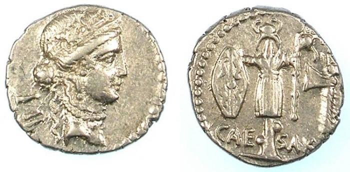 Ancient Coins - ROME Republic Julius Caesar 49-44 BC AR Denarius.