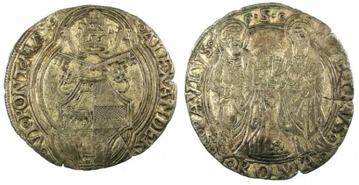 Ancient Coins - ITALY.VATICAN.Pope Alexander VI Rodrigo de Borja y Borja) 1492-1503.AR.Grosso.Rome mint