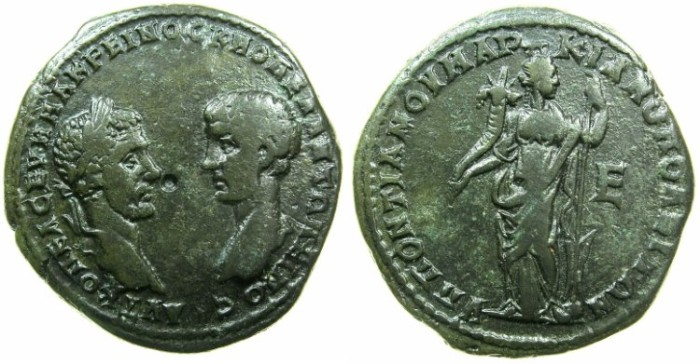 Ancient Coins - MOESIA INFERIOR.MARCIANOPOLIS.Macrinus and Diadumenian Caesar AD 217-218.AE.5 Assaria.~#~.Tyche holding cornucopiae in right hand and rudder in left.