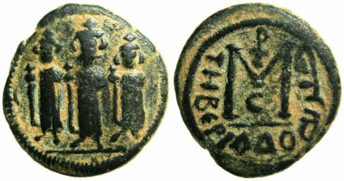 Ancient Coins - ARAB-BYZANTINE.TABARIYYA ( TIBERIAS ).Anonymous 7th cent AD.AE.Fals.~~~Three standing imperial figures.