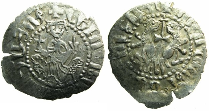 Ancient Coins - CILICIAN ARMENIA.Levon I The Great AD 1199-1219.AR.Tram. ~~~Sigla three dots right field.