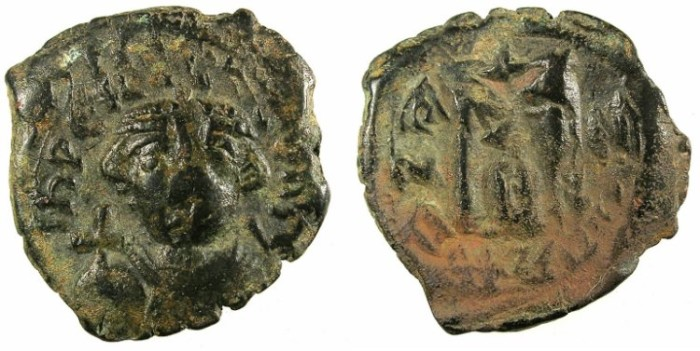 Ancient Coins - BYZANTINE EMPIRE.Constans II AD 641-668.AE.Follis.Mint of Constantinople.Regnal year 3, officina B