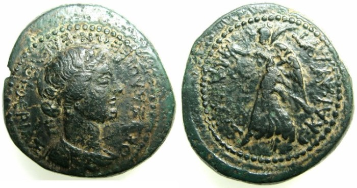 Ancient Coins - Macedon. Mark Anthony and Octavian AE28.Struck 37 BC.~~~Bust of Eleftheria.~#~Nike.
