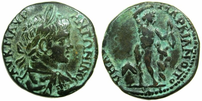 Ancient Coins - MOESIA INFERIOR.MARCIANOPOLIS.Caracalla AD 198-211.AE.25.4mm.~#~.Naked Apollo.