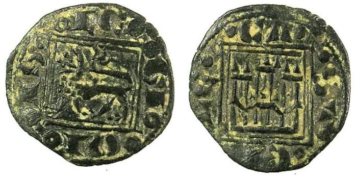 Ancient Coins - SPAIN.CASTILE AND LEON.Alfonso X 1252-1284.Bi.Obol.No mint mark.