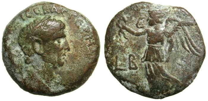 Ancient Coins - EGYPT.Claudius AD 41-54.AE.Diobol.Struck AD 41/42 Mint of ALEXANDRIA.~#~Nike.