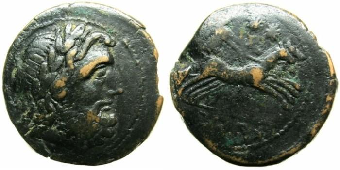 Ancient Coins - CAMPANIA.CAPUA.AE.Biunx, struck after 268 BC.~~~Laurate Zeus.~#~Selene in Biga.