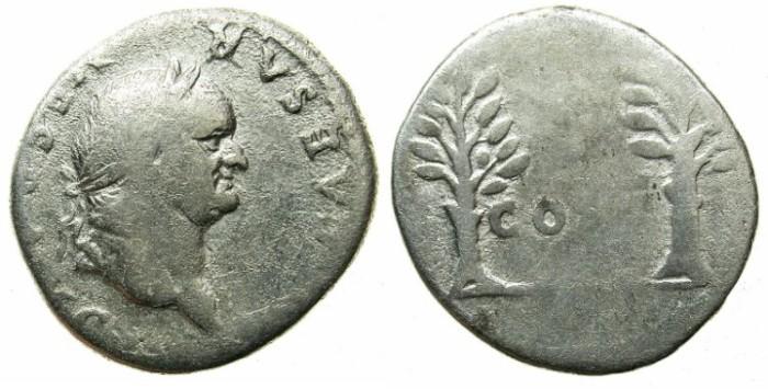 Ancient Coins - ROMAN.Vespasian AD 69-79.AR.Denarius.AD 74.Two laurel branches.