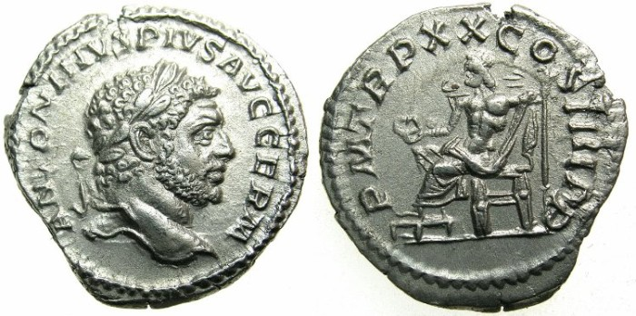 Ancient Coins - ROMAN.Caracalla Sole Emperor AD 212-217.AR.Denarius AD 217.~~~JUPITER seated.