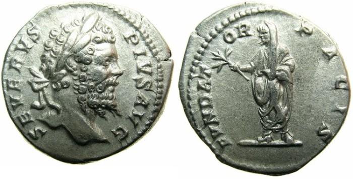 Ancient Coins - ROMAN.Septimius Severus AD 193-211.AR.Denarius, undated c.AD 202-210.Septimius standing veiled.