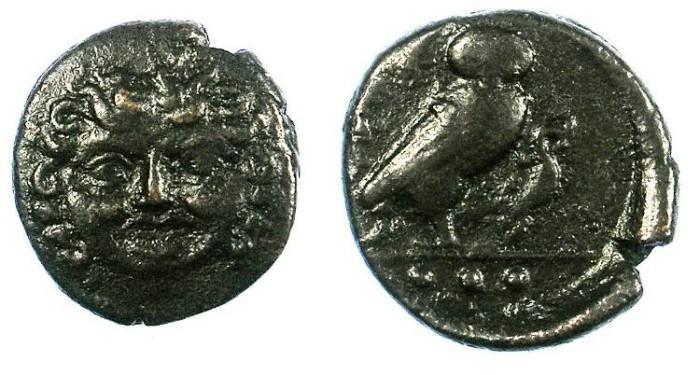 Ancient Coins - SICILY.Kamarina.C.425-405 BC.AE.15mm.Gorgoneion Rev.Owl