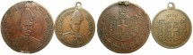 World Coins - GREECE.Constantine I AD 1913-1917 and 1920-1922.AE.Two coronation medallets 1913.