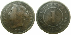 World Coins - CYPRUS.Victoria.AE.1 Piastre 1881H, Thick one.