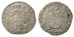 World Coins - ITALY.NAPLES.Alfonso II of Aragon AD 1494-1495.AR.Coronato. Issue without fieldmarks.