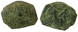 Ancient Coins - PSEUDO-BYZANTINE.AE.Follis ( Fals ).7th cent AD. After coin of Constans II ( AD 641-668 ).Obverse. Facing bust.