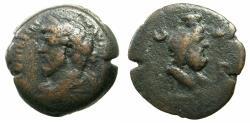Ancient Coins - EGYPT.ALEXANDRIA.Marcus Aurelius AD 161-180.AE.Drachma.Struck AD 162/63.Reverse.Serapis bust on plinth.