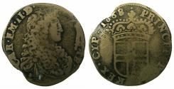 World Coins - ITALY.SAVOY.Carlo Emanuele II Duke 1648-1675.Billon 5 soldi.1668.2nd Type. Mint of TURIN