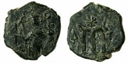 Ancient Coins - PSEUDO BYZANTINE.7th cent AD.AE.Fals ( follis ), after Constans II AD ( AD 641-669 ). Standing imperial figure.