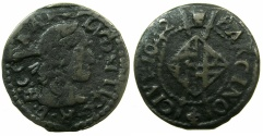 World Coins - SPAIN.BARCELONA.French occupation.Louis XIII AD 1642-1648.AE.Sesino.1642