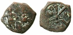 Ancient Coins - BYZANTINE EMPIRE.Heraclius AD 610-641.AE.Half folles, struck AD 629/ 630.Mint of CONSTANTINOPLE?