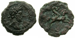 Ancient Coins - EGYPT.ALEXANDRIA.Marcus Aurelius AD 161-180.AE.Diobol, struck AD 171/72?.~#~.Serpent Agathodaemon riding horse.