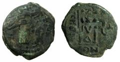 Ancient Coins - BYZANTINE EMPIRE.Heraclius AD 610-641.AE.Follis.Struck AD 614/15.Mint of CONSTANTINOPLE. overstrike Phocas, follis from Theoupolis.