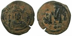 Ancient Coins - BYZANTINE EMPIRE.Maurice Tiberias AD 582-602.AE.Follis, struck AD 589/90.Mint of CONSTANTINOPLE.