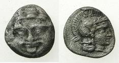 Ancient Coins - PISIDIA.SELGE.Circa 300-190 BC.AR.Obol. Gorgoneon. Reverse. Athena.