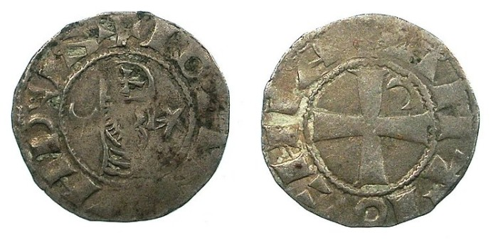Ancient Coins - CRUSADER.Antioch.Bohemond III or IV c.1149-1233.Bi.Denier.Class A2