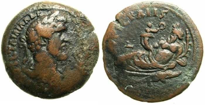 Ancient Coins - EGYPT.ALEXANDRIA.Antoninus Pius AD 138-161.AE.Drachma.Struck AD 149/50.~#~.Nilus reclining-coin records rise of Nile to 16 cubits.