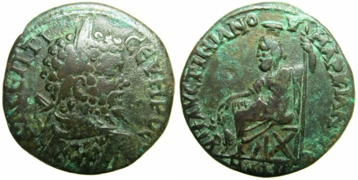 Ancient Coins - MOESIA INFERIOR.MARCIANOPOLIS.Septimius Severus AD 193-211.AE.26.6mm.~#~Hades-Serapis enthroned.