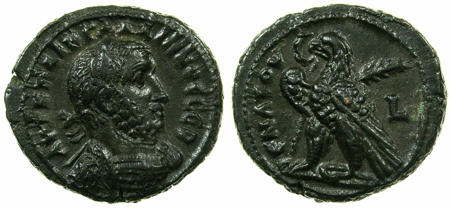 Ancient Coins - EGYPT.ALEXANDRIA.Gallienus Sole reign AD 261-268.Billon Tetradrachm, struck AD 261/62.~#~.Eagle on thunderbolt.