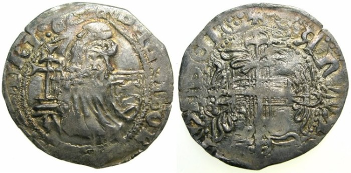Ancient Coins - CRUSADER STATES.RHODES.Philibert De Naillac AD 1396-1421.AR.Gigliato.~#~SANTA CROSE reverse legend