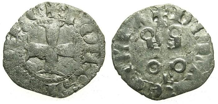 Ancient Coins - CRUSADER. ACHAIA.Jean of Anjou-Gravina 1318-1333.Bi.Denier.Type A2