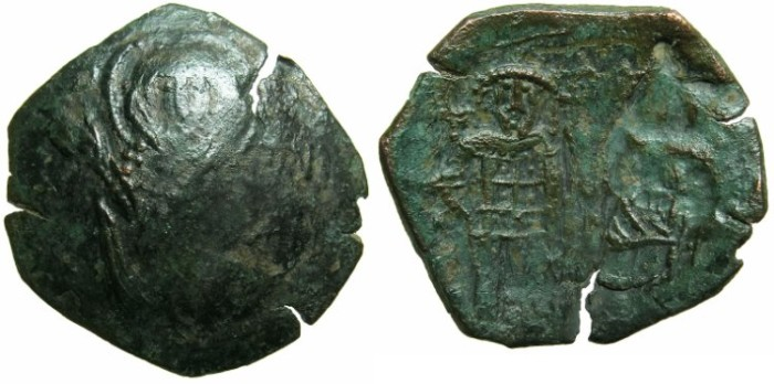 Ancient Coins - BYZANTINE EMPIRE.Michael VIII and Andronicus II AD 1272-1282.AE.Trachy.Class III.~#~The Virgin Orans.