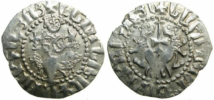 Ancient Coins - CILICIAN ARMENIA.Levon I AD 1199-1219.AR.Tram.~~~Sigla four dots right field